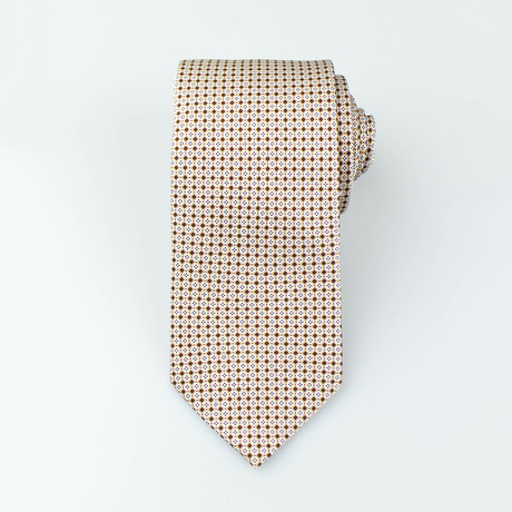 Brioni // Vihaan Silk Tie // Brown + White