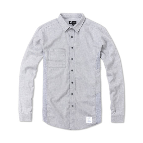 Multi Fabric Long Sleeve Button Front Shirt // Heather Gray