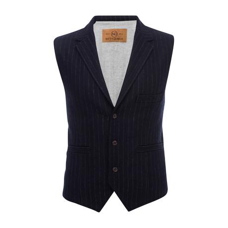 Cooper Stripe Vest Shirt // Navy (XS)