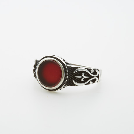 Red Agate Round Stone Ring