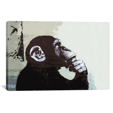 "The Thinker Monkey // Banksy (26""W x 18""L x 0.75""D)"