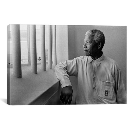 "Nelson Mandela Portrait // Unknown Artist (26""W x 18""H x 0.75""D)"