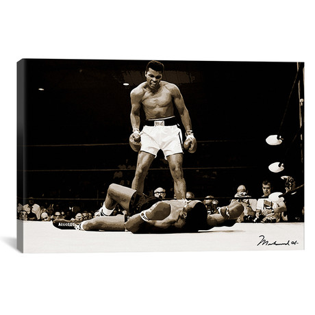 "Muhammad Ali Vs. Sonny Liston, 1965 // Muhammad Ali Enterprises (40""W x 26""H x 1.5""D)"