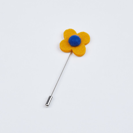 Flower Lapel Pin // Yellow & Blue