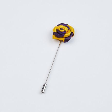 Rose Lapel Pin // Yellow & Purple