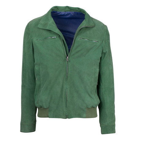 Lars Suede Leather Bomber Jacket // Green