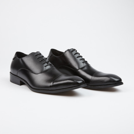 Leather Lace Up Classic European Cap Toe Oxford // Black