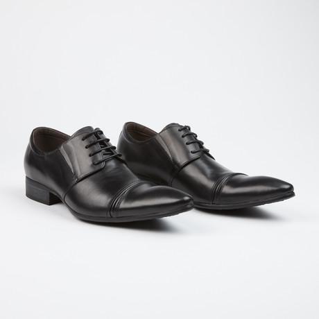 Leather Cap Toe Derby Shoes // Black