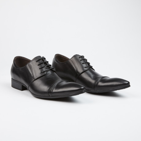 Leather Cap Toe Derby Shoes // Black (US: 7)