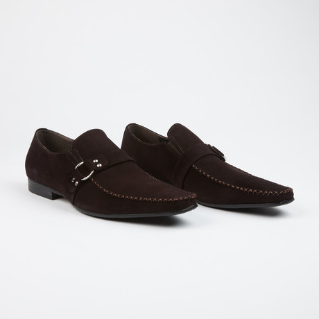 Suede Buckle Loafer // Brown