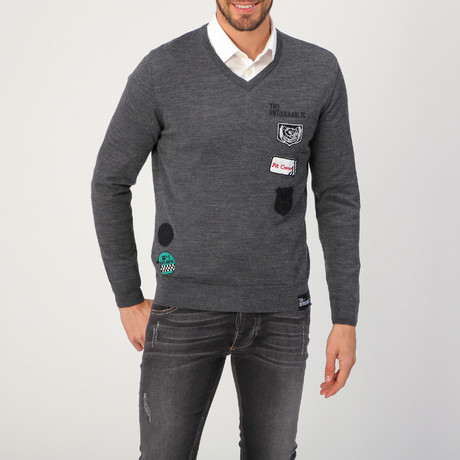 Jersey Patch Sweater // Gray