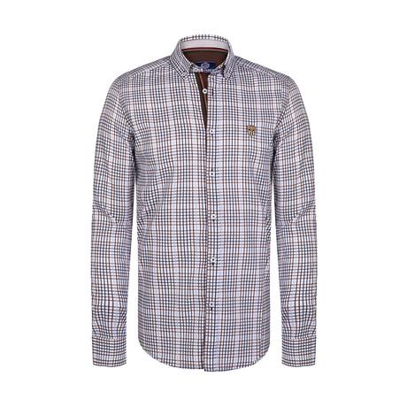 Myron Button Down Shirt // White + Brown (S)