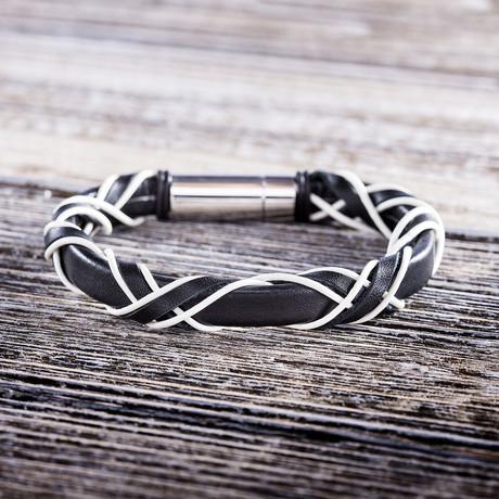 Leather Criss Cross Bracelet // Black + White
