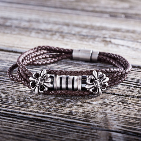 Rondelle Leather Bracelet // Brown + Silver