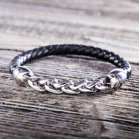 Interlinked Cuban Chain Leather Bracelet // Silver + Black