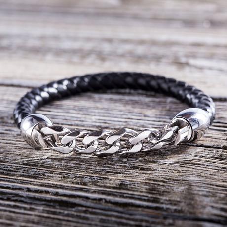 Cuban Chain Accent Leather Bracelet // Black