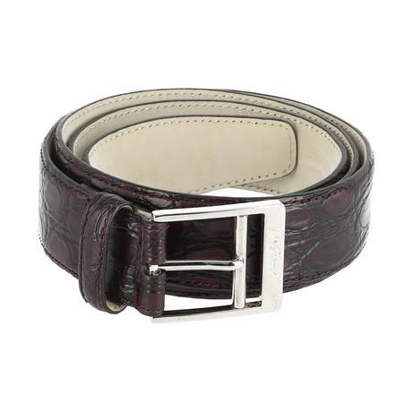 Classic Leather Belt // Aubergine + Black (Euro: 80)