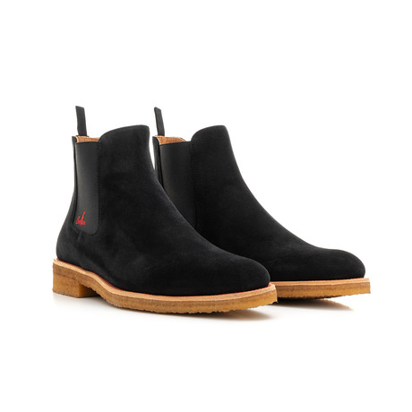 Suede + Crepe Sole Chelsea Boots // Black + Black + Red