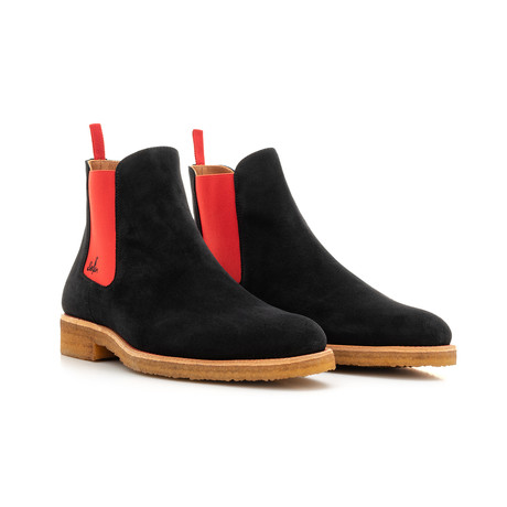 Chelsea Boot Suede // Crepe Sole // Black + Red (Euro: 39)