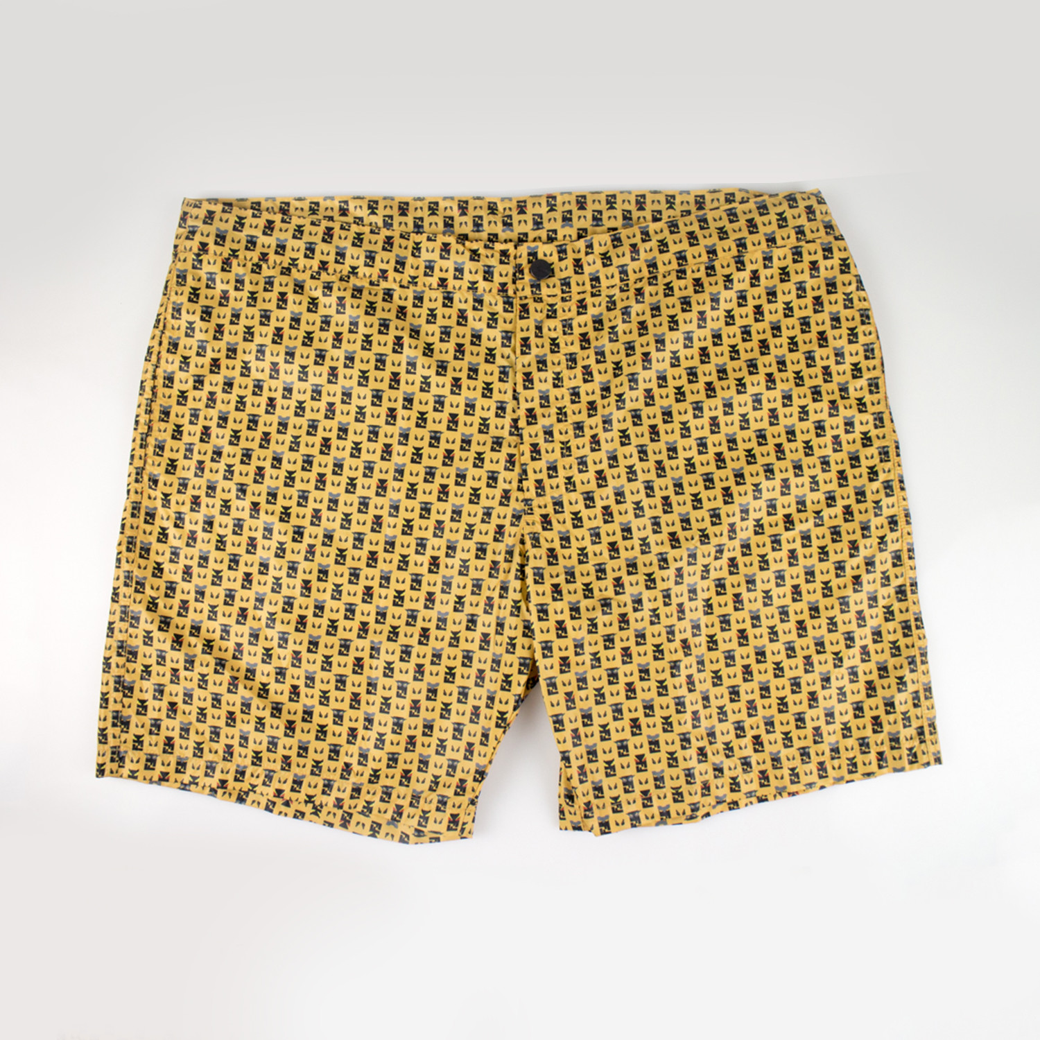 d383aa2048 Fendi // FF Monster Print Swim Trunks // Yellow (Euro: 46 ...