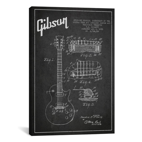 "Gibson Guitar Charcoal Patent Blueprint // Aged Pixel (26""W x 40""H x 1.5""D)"