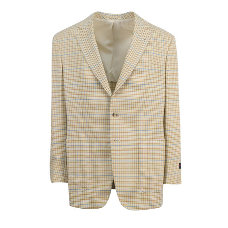 Check Wool 3 Roll 2-Button Sport Coat // Brown