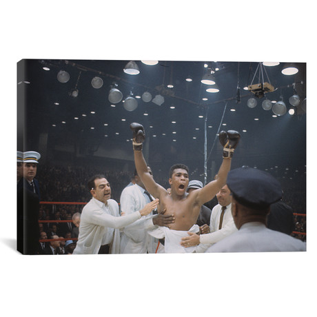 "Jubilant Victory Celebration, February 25th, 1964 // Muhammad Ali Enterprises (26""W x 18""H x 0.75""D)"