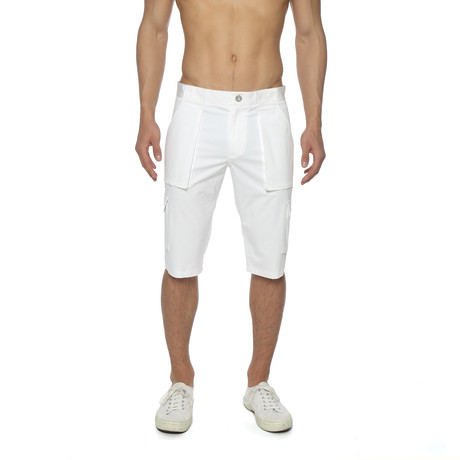 Solid Stretch Long Cargo Short // White