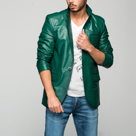 Matteo Leather Jacket // Green (XS)