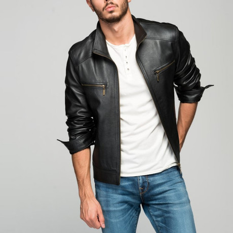 Calderone Leather Jacket // Black (XS)