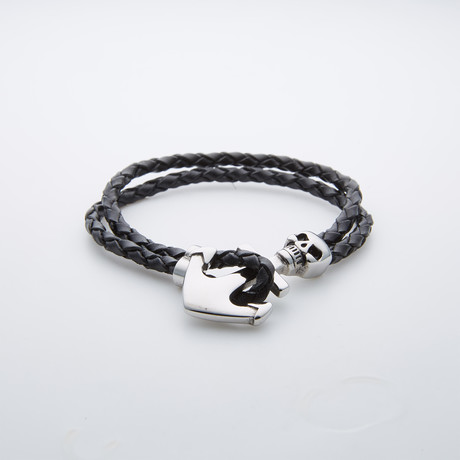Leather + Silver Plated Skull Anchor Bracelet // Green