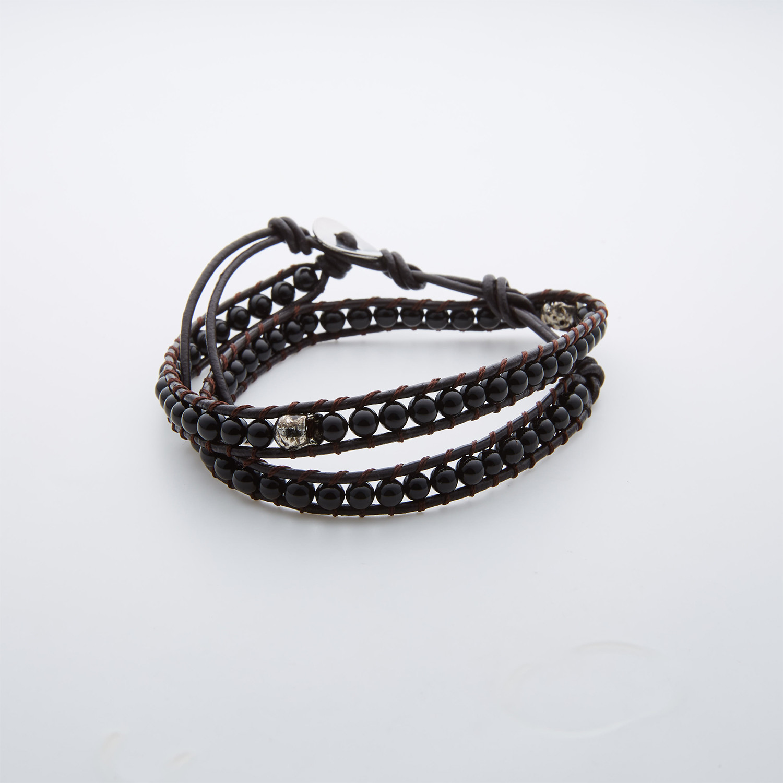 Bela Donaco-Earrings Classic \u2013 Black faceted brushed agate \u2013 brushed Sterling Silver-748
