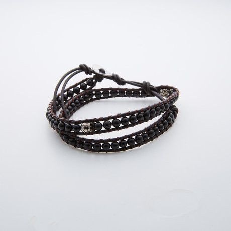 Double Wrap Black Agate Bracelet + Silver Skull