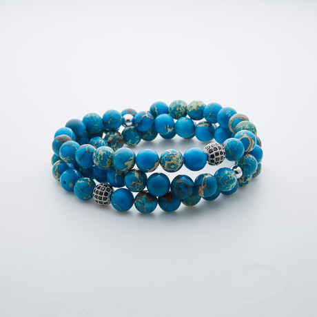Double Wrap Emperor Stone Bracelet // Blue Multi