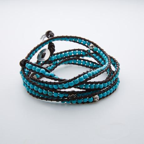 Silver Skull + Turquoise Multi Wrap Bracelet // Aqua