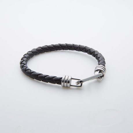 Leather + Stainless Steel Clamp Bracelet // Black