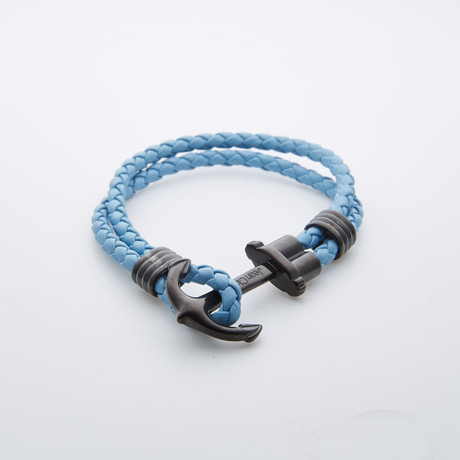 Leather + Black Anchor Bracelet // Light Blue