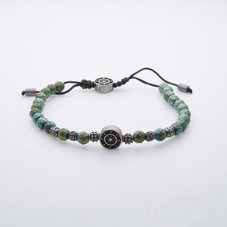 Hematite Stainless Steel Bracelet // Green