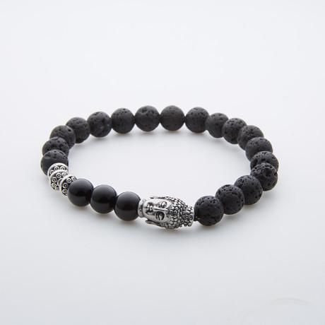 Black Onyx + Lava Stone + Silver Buddha Charm Beaded Bracelet
