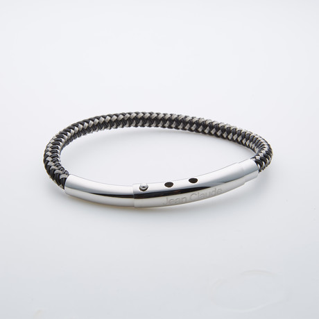 Leather + Stainless Steel Adjustable Bracelet // Black + Silver