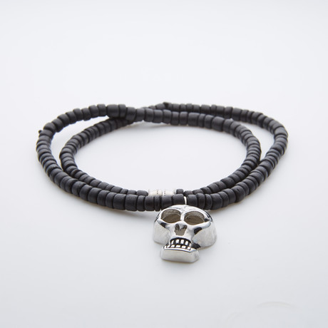 Coconut Wood + Silver Skull Necklace // Black