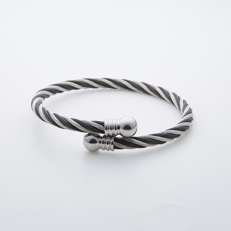 Twisted Cable Stainless Steel Bangle // Grey