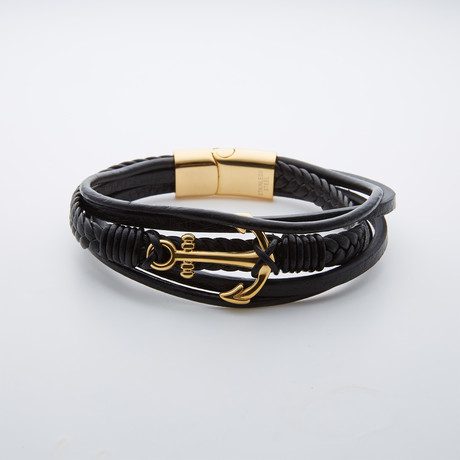 Leather + Stainless Steel Hook Wrap Bracelet // Black + Gold