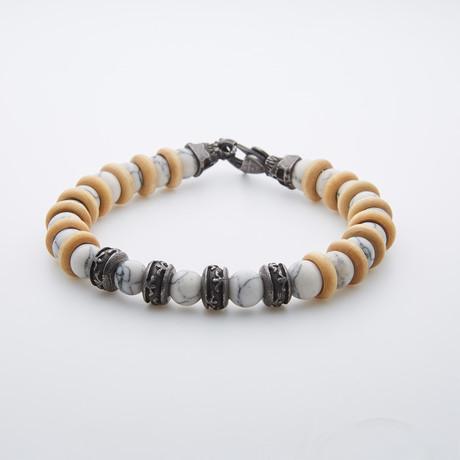 White Turquoise + Wooden Beaded Bracelet