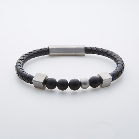 Obsidian + Stainless Steel Leather Bracelet // Black + Silver