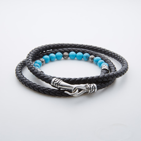 African Turquoise + Leather Wrap Bracelet // Black