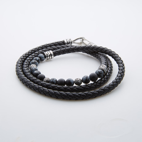 Black Wrap Leather Bracelet // Snow Flakes Agate Beads