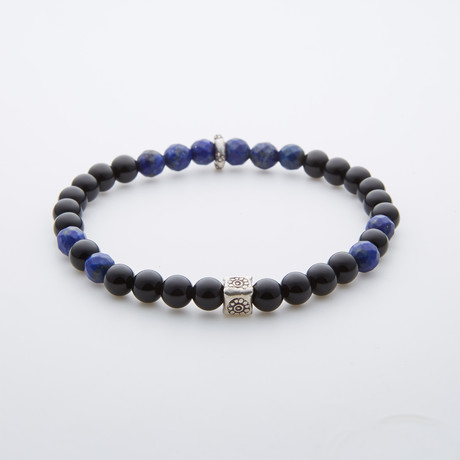 Black Onyx Bracelet // Lapis Natural Bead