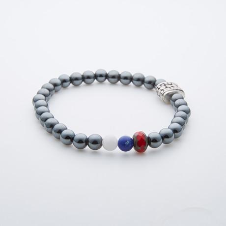 Dell Arte // American Pride Round Hematite Beads // Silver