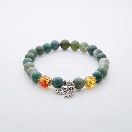 Charm Bracelet // Amber + Black Obsidian Beads